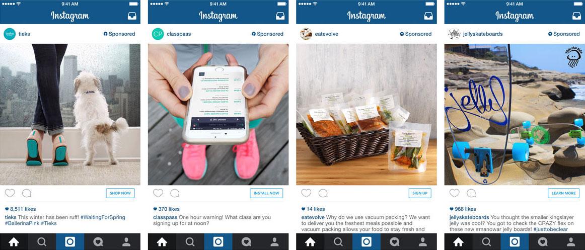 Instagram zavádí pod fotografiemi nová reklamní tlačítka. Repro: Instagram
