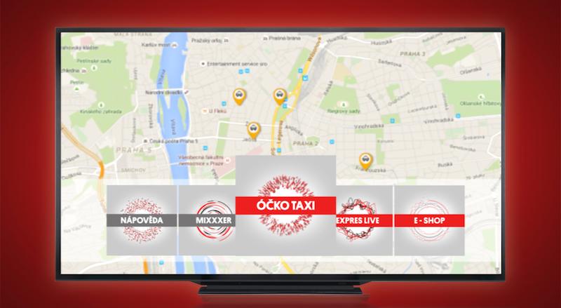 Nová aplikace Óčko Taxi umožňuje sledovat pohyb vozů přímo v televizoru