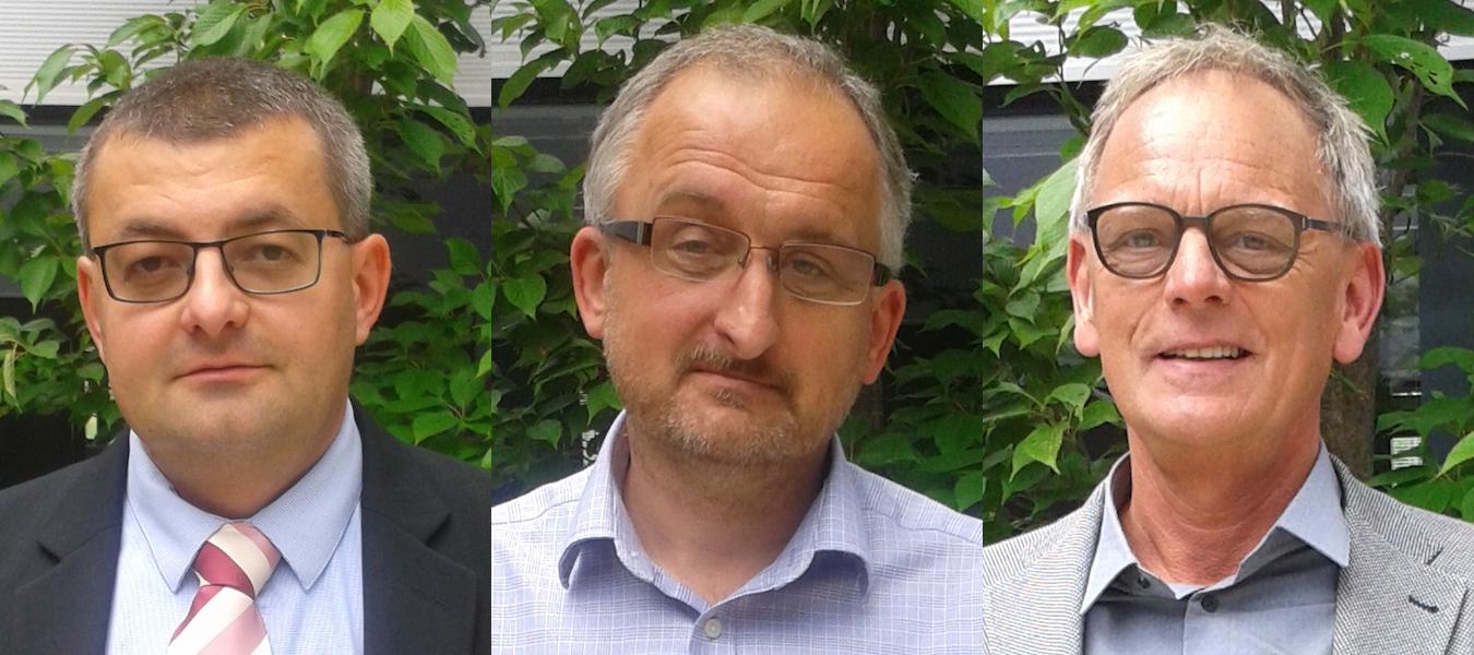 Noví ředitelé První novinové společnosti: zleva Petr Novák, František Čermák, Cornelis Antonius van der Kolk