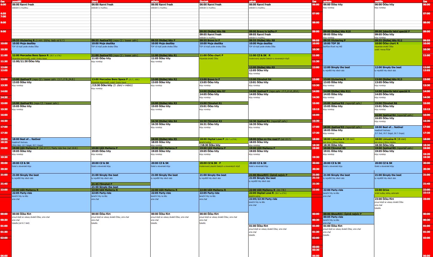 Programové schéma televize Óčko na léto 2015