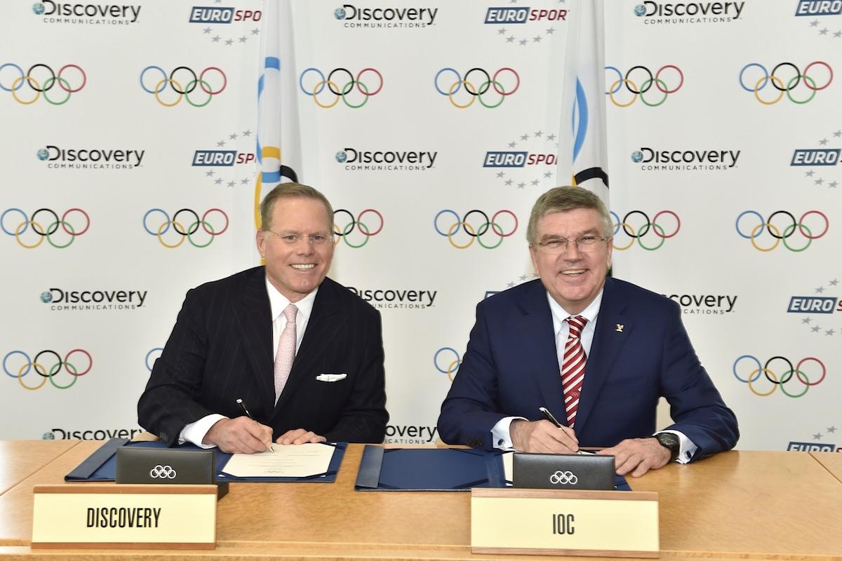 Šéf Discovery Communications David Zaslav a předseda Mezinárodního olympijského výboru Thomas Bach. Foto: Christophe Moratal