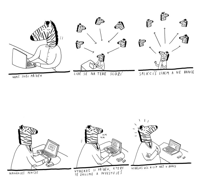 Vizuální styl se točí kolem postavy zebry Zonkyho, kreslí ji David Böhm