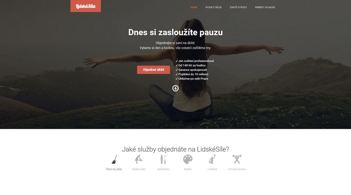 Homepage startupu Lidskásíla.cz