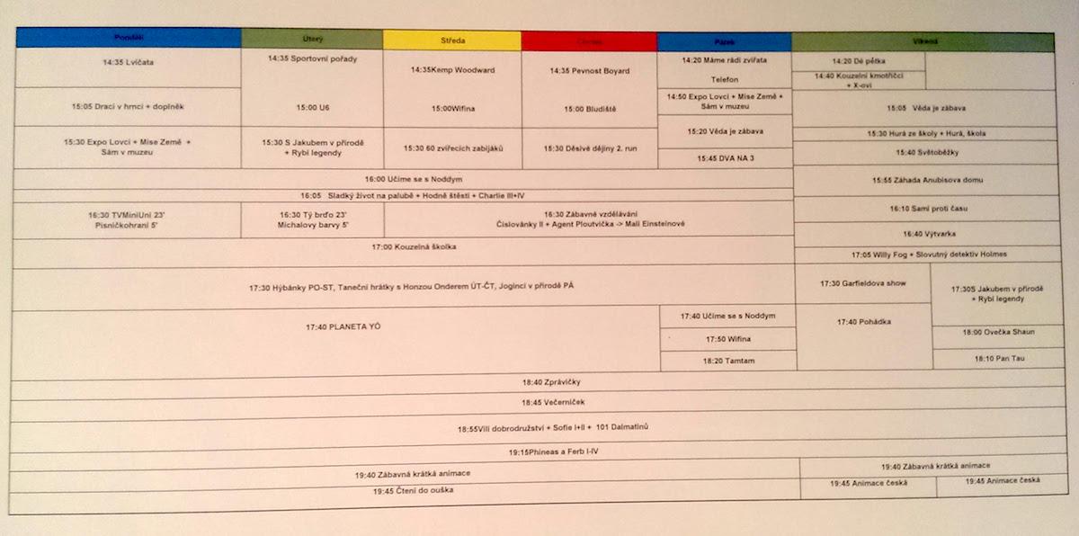 Programové schéma ČT :D na podzim 2015, odpoledne. Kliknutím zvětšíte