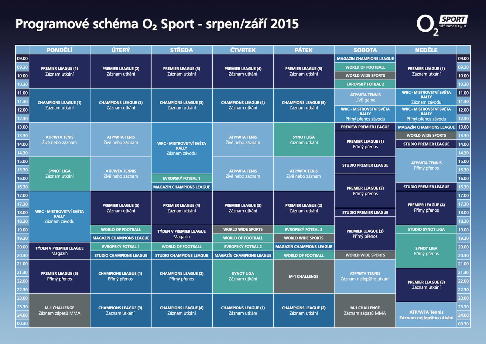 Programové schéma O2 Sport pro srpen a září 2015