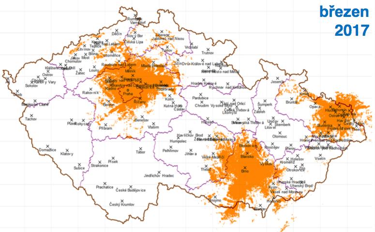 Třetí fáze, březen 2017: k Praze a Brnu přibude Ostrava, dosah k 35 % obyvatel