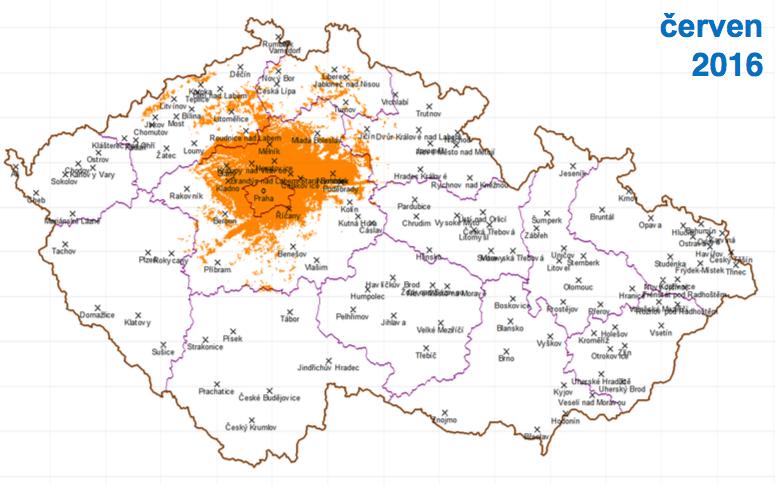 První fáze: pokrytí Prahy a okolí, dosah k 17 % obyvatel