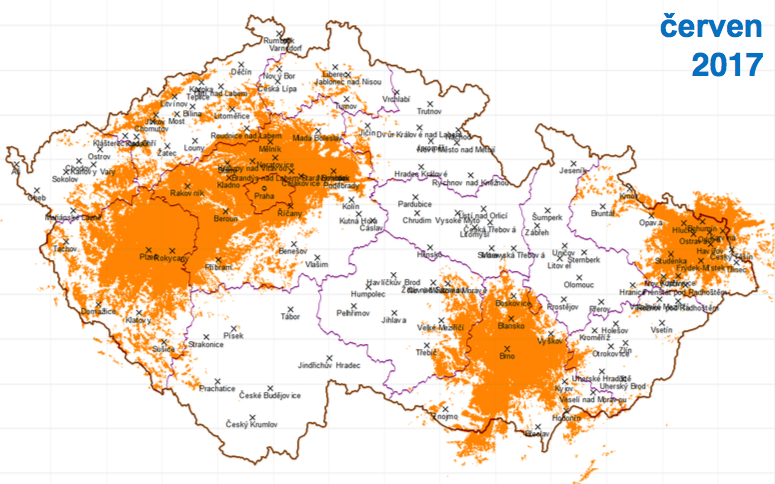 Čtvrtá fáze, červen 2017: k Praze, Brnu a Ostravě přibude Plzeň, dosah k 42 % obyvatel