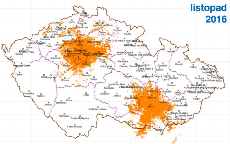 Druhá fáze, listopad 2016: k Praze přibude Brno, dosah k 26 % obyvatel