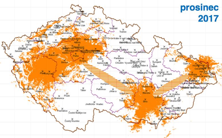 Pátá fáze, prosinec 2017: k Praze, Brnu, Ostravě a Plzni přibývají hlavní dálniční tahy, hlavně D1, dosah k 50 % obyvatel