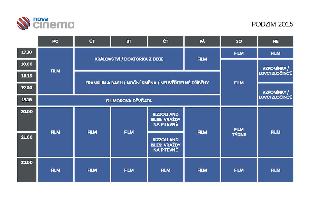 Podzimní programové schéma Novy Cinema