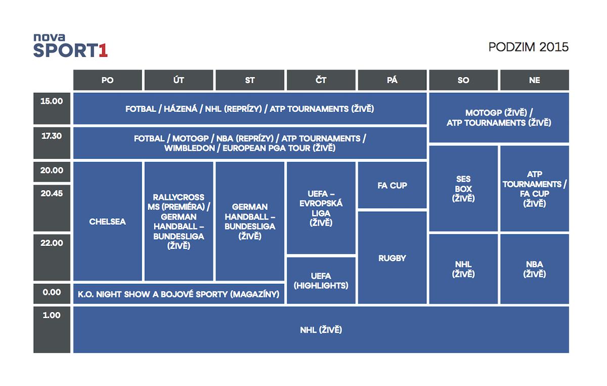 Podzimní programové schéma Novy Sport 1