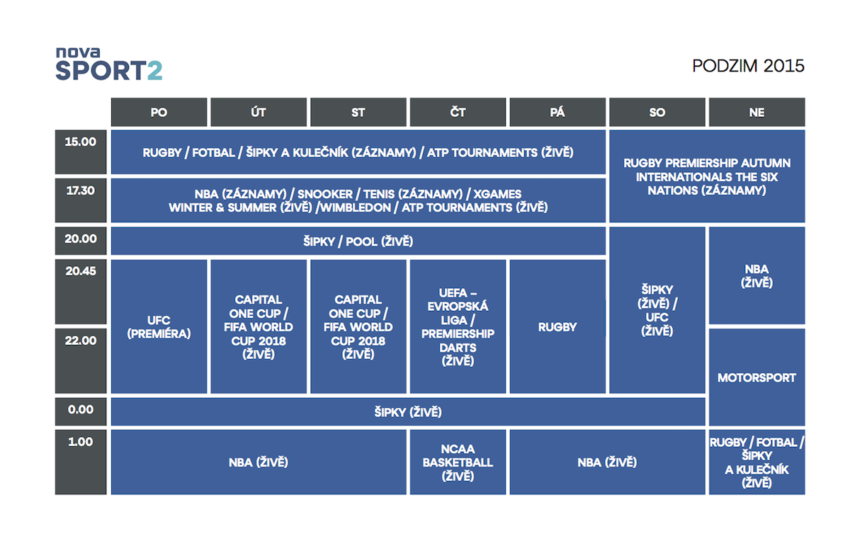 Podzimní programové schéma Novy Sport 2