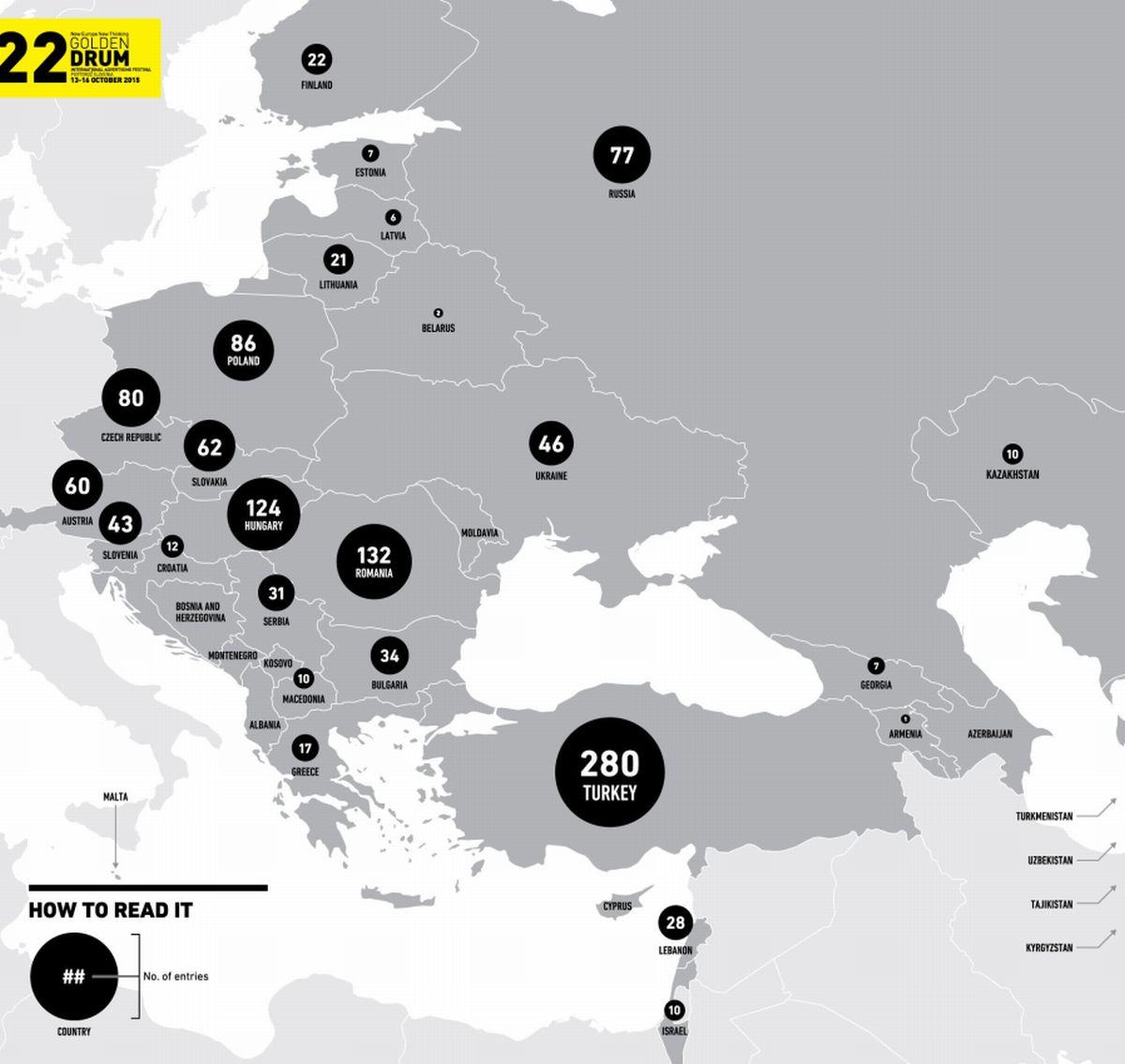 Zastoupení jednotlivých zemí v soutěži letošního 22. ročníku festivalu Golden Drum