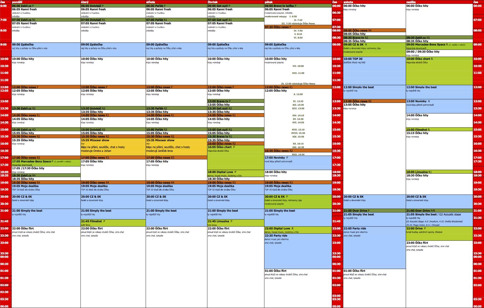 Programové schéma televize Óčko na podzim 2015. Kliknutím zvětšíte