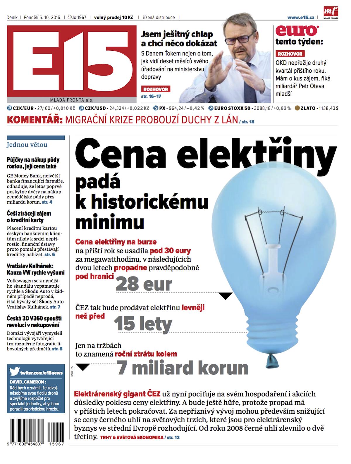Nová podoba titulní strany deníku E15