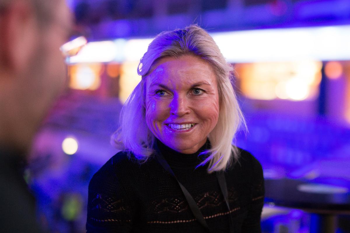 Jette Nygaard-Andersenová v pražské O2 Areně při rozhovoru s Médiářem