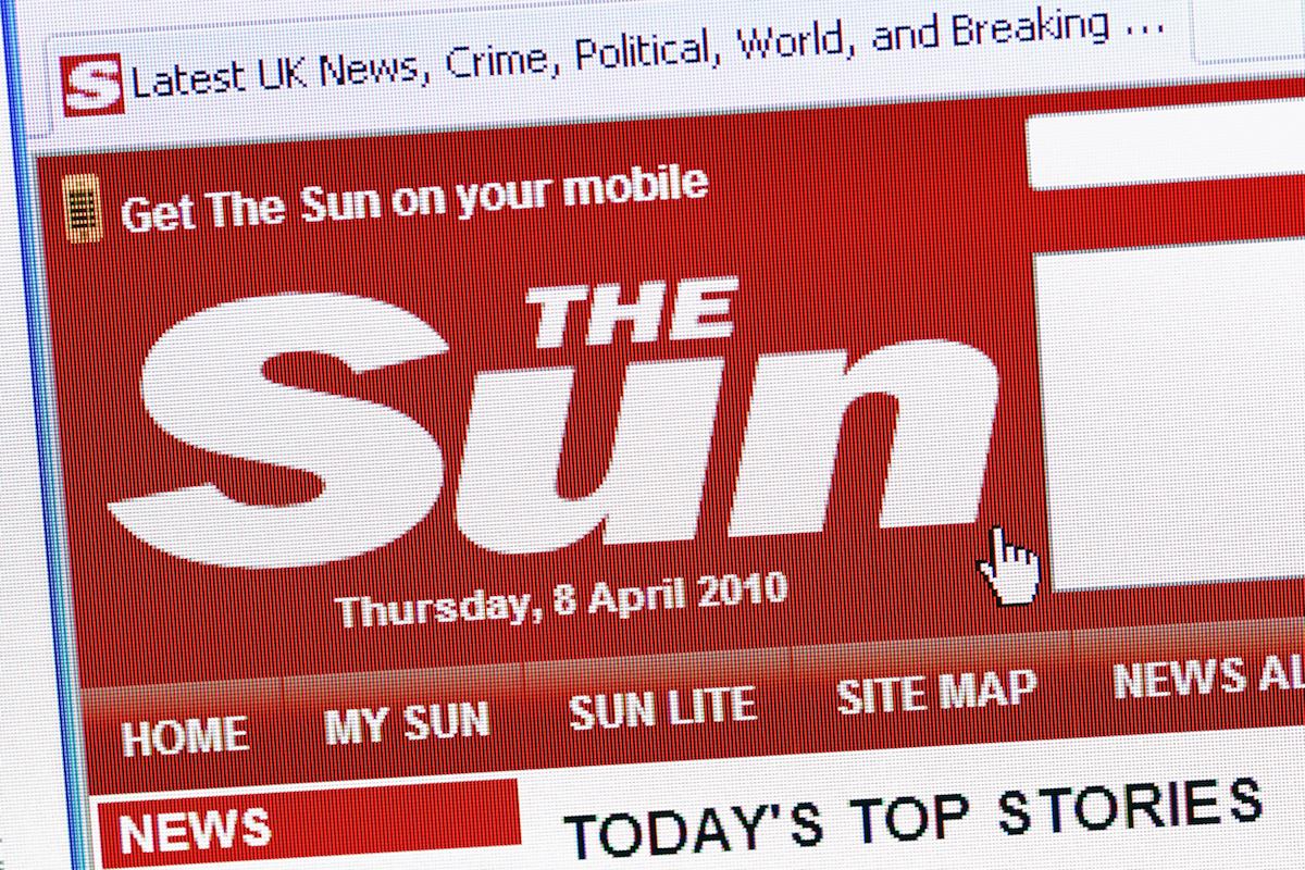 Web bulváru The Sun. Ilustrační foto: Profimedia.cz