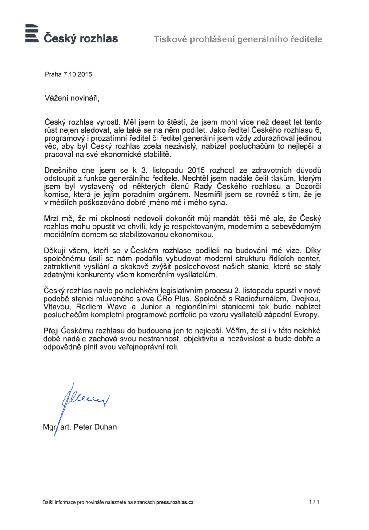 Tiskové prohlášení Petera Duhana ze 7. 10. 2015