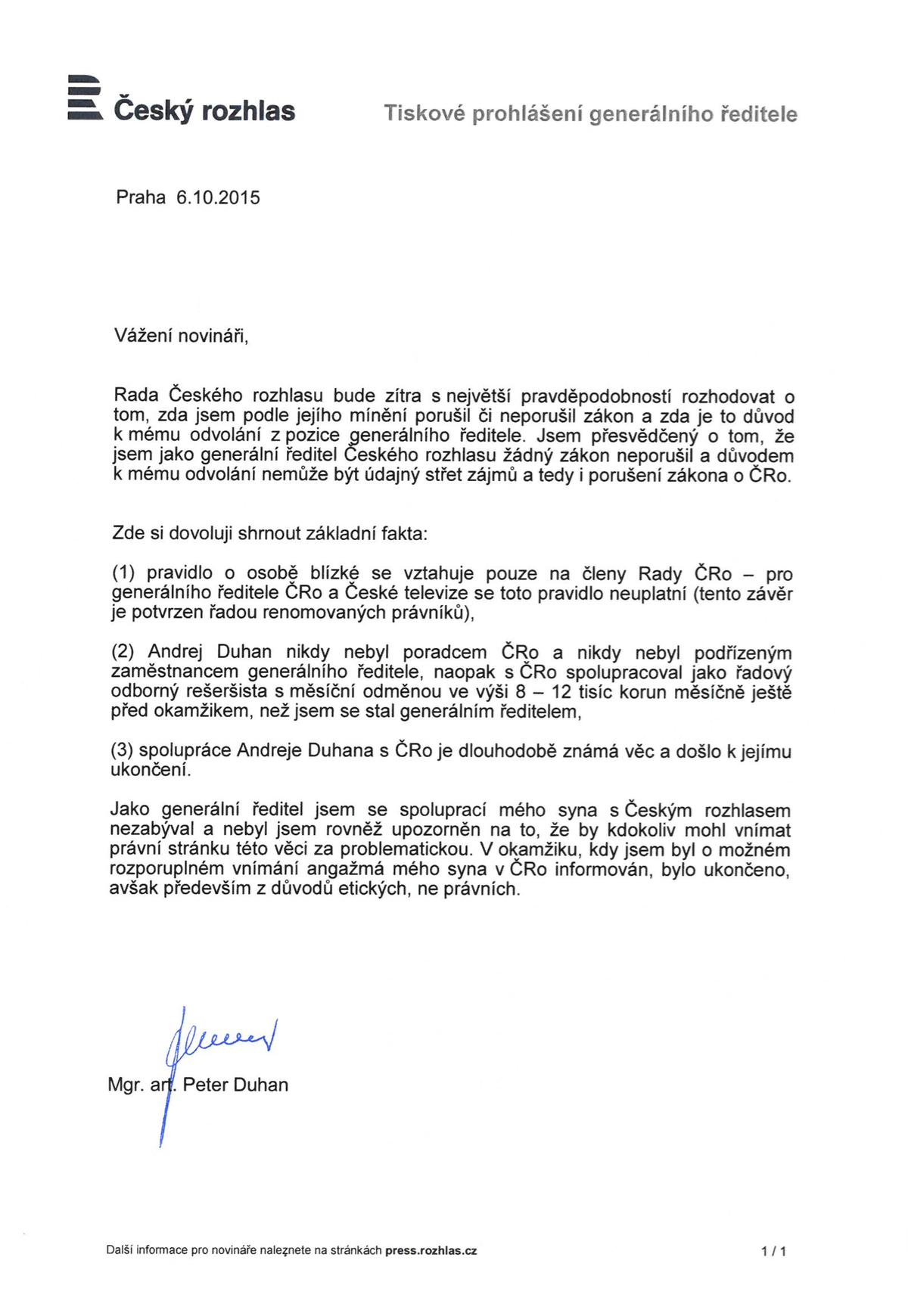 Tiskové prohlášení Petera Duhana z 6. 10. 2015