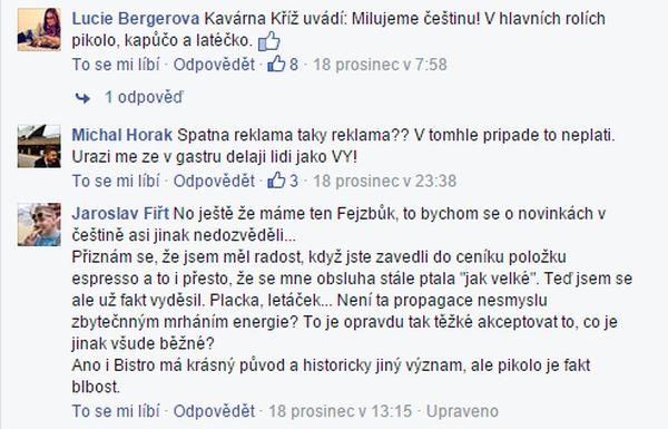 """Facebookové diskuse na téma uvedení kávy """"pikolo"""""""