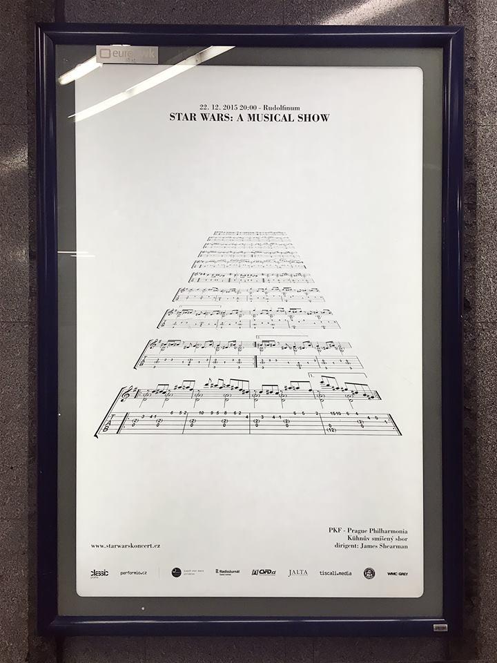 Filmová hudba ze Star Wars na reklamním plakátu
