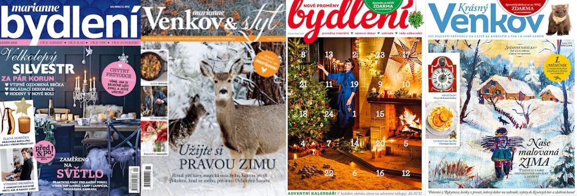 Vlevo tituly o bydlení a venkově vydavatelství Burda, vpravo dva mladší od Deco Media