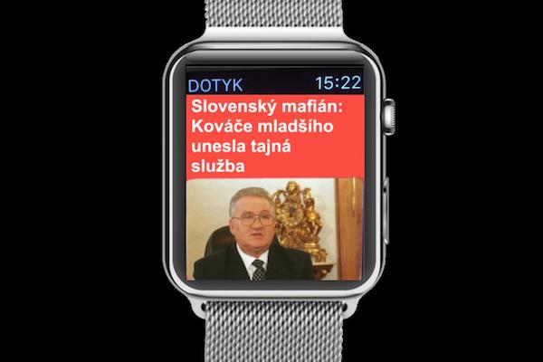 Ukázka formátu zpráv Dotyku na hodinkách Apple Watch