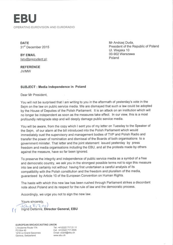 Dopis EBU prezidentu Dudovi