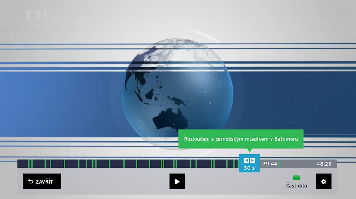 Pomoc zeleného tlačítka se lze podle indexů dostat na různé části pořadu