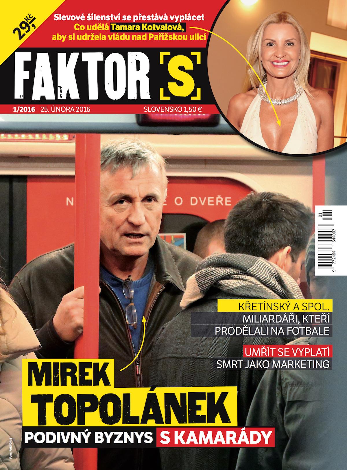 Titulní strana prvního vydání týdeníku Faktor S