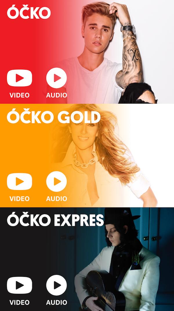 Výběr vysílání v nové aplikaci Óčka