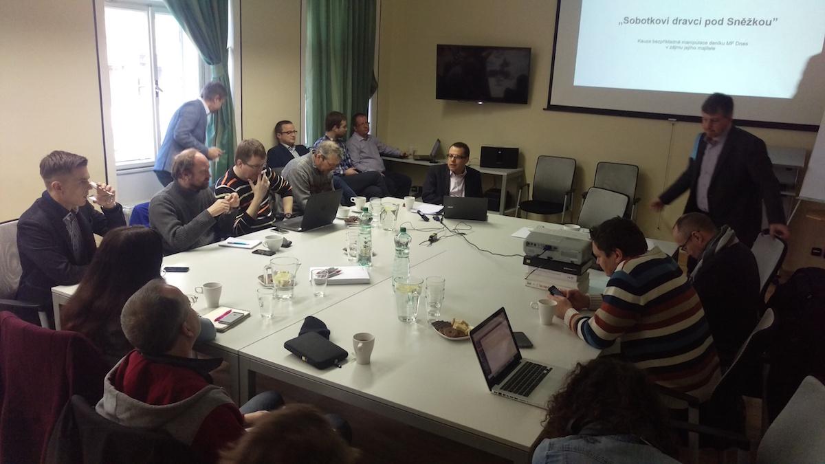 Miloš Růžička na tiskové konferenci v sídle agentury Bison & Rose