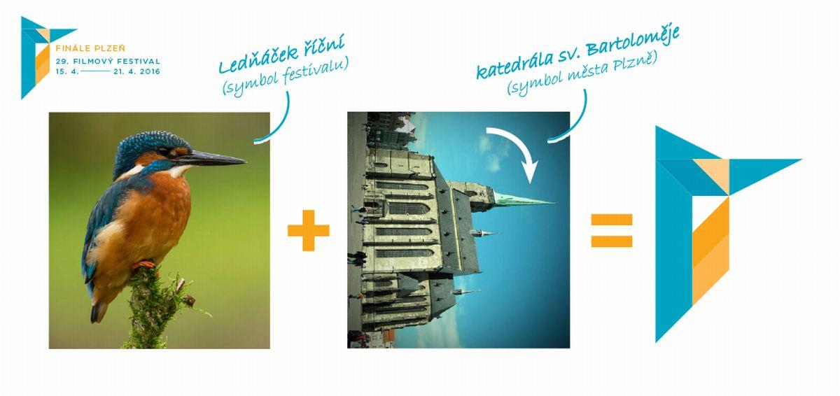 Logo má odkazovat jak k tradičnímu festivalovému symbolu ledňáčka, tak k plzeňské dominantě v podobě katedrály svatého Bartoloměje