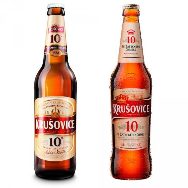 (Zleva) Stará versus nová orosená láhev Krušovic