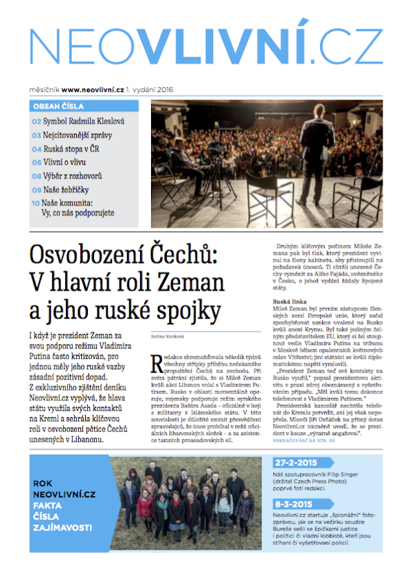 Titulní strana prvního vydání měsíčníku Neovlivní.cz