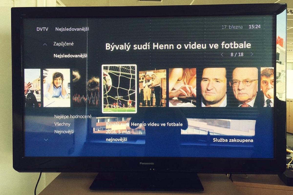 Rozhraní služby O2 TV s nabídkou DV TV. Repro: O2