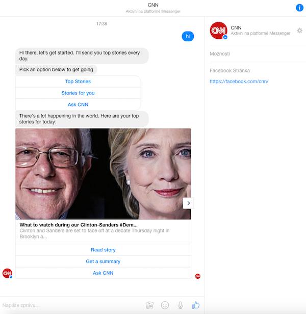 Jak CNN posílá své zpravodajství přes Messenger