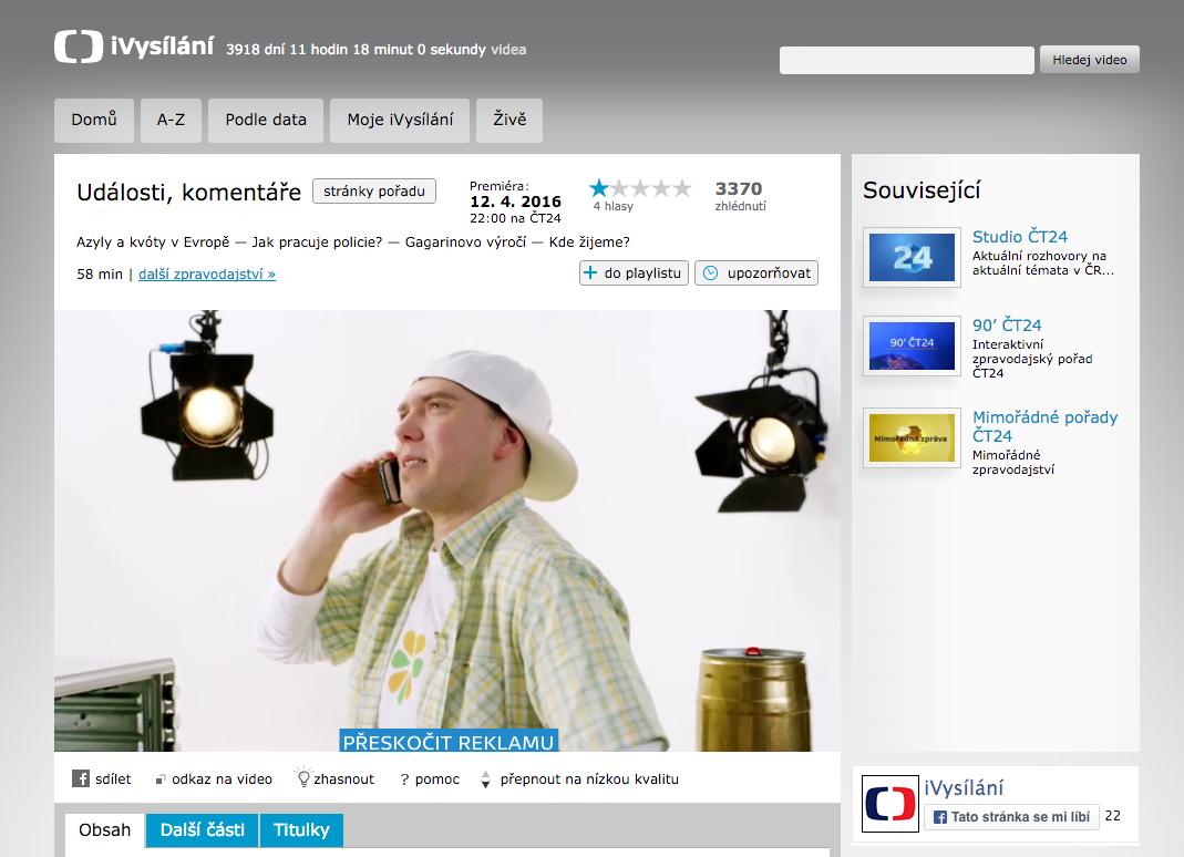 Láďa Hruška v iVysílání. Díky reklamě si diváci webu České televize mohou dopřát i vystoupení hvězd komerčních stanic