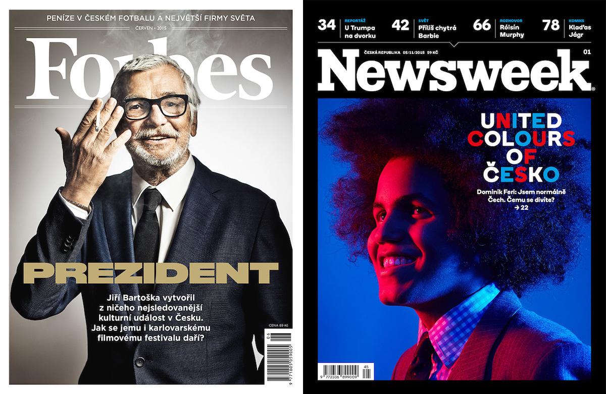 Vlevo vítězná titulní strana Forbesu, vpravo první vydání čtrnáctideníku Newsweek v češtině