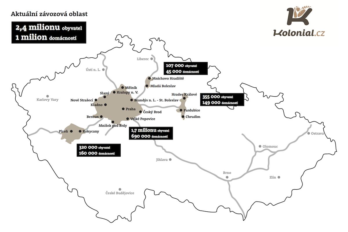 Aktuální dosah závozů služby Kolonial.cz