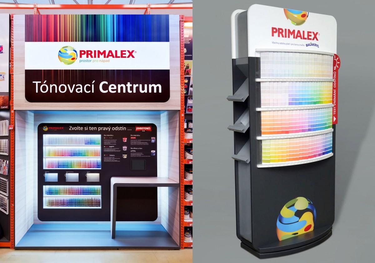 Stěna s 210 barevnými škálami (vlevo) umožňovala otestovat barvu v různých světelných podmínkách. Tónovací centra (vpravo) prezentující značky Primalex a Johnstones byla umístěna v řetězcích hobby marketů Bauhaus