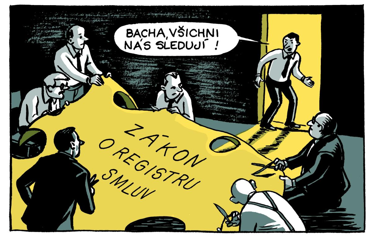 Na zákon o registru smluv upozorňuje i komiks kreslířky Lucie Lomové