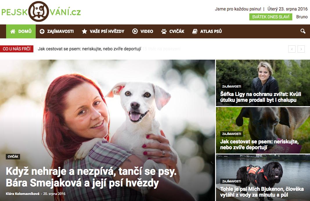 Titulní strana magazínu Pejskování.cz