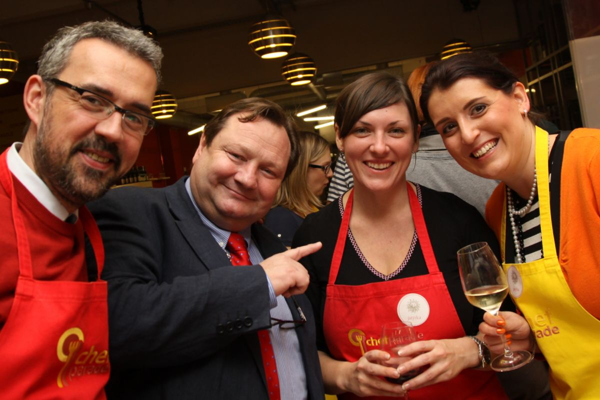 S bývalými kolegy na akci Beaujolais Party v pražské Chef Parade. Zleva Rémi Diligent a Martin Štěpánek