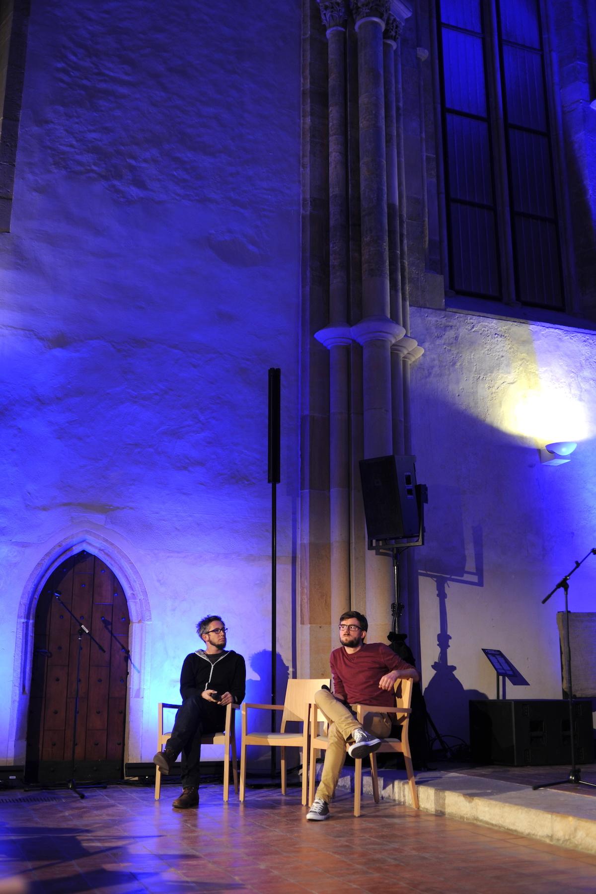 Zleva Jan Gregor a Janek Rubeš na konferenci Vertifilms 2016. Foto: Jana Lábrová