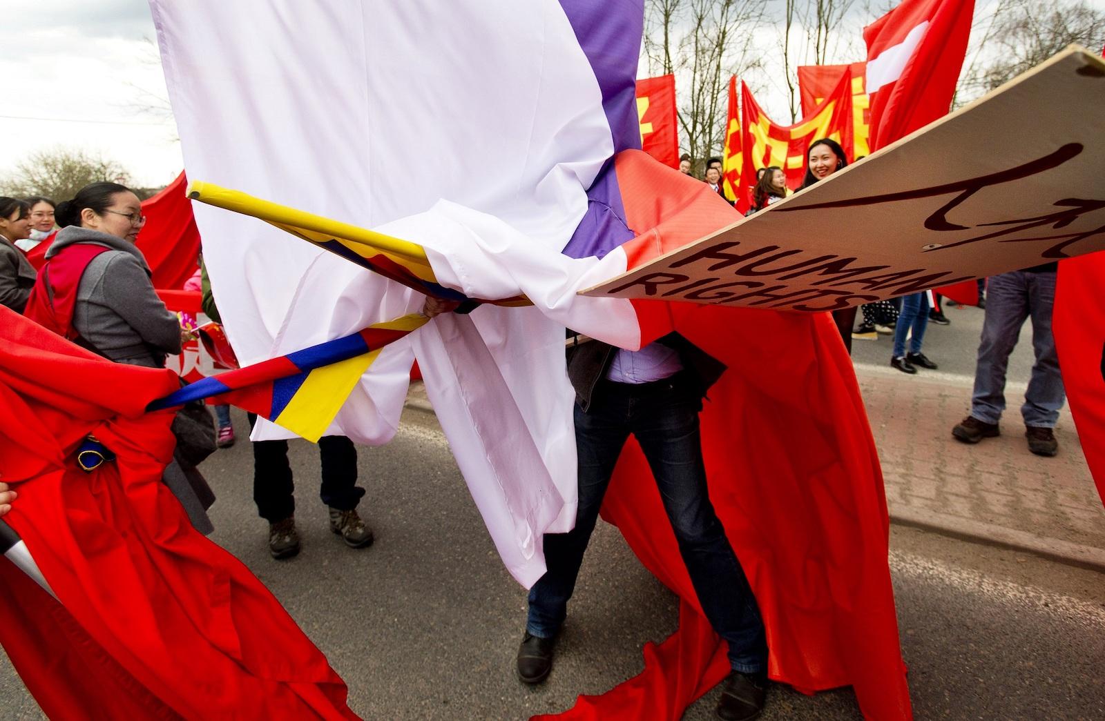 Protesty proti návštěvě čínského prezidenta. Foto: Michal Šula (Mafra)