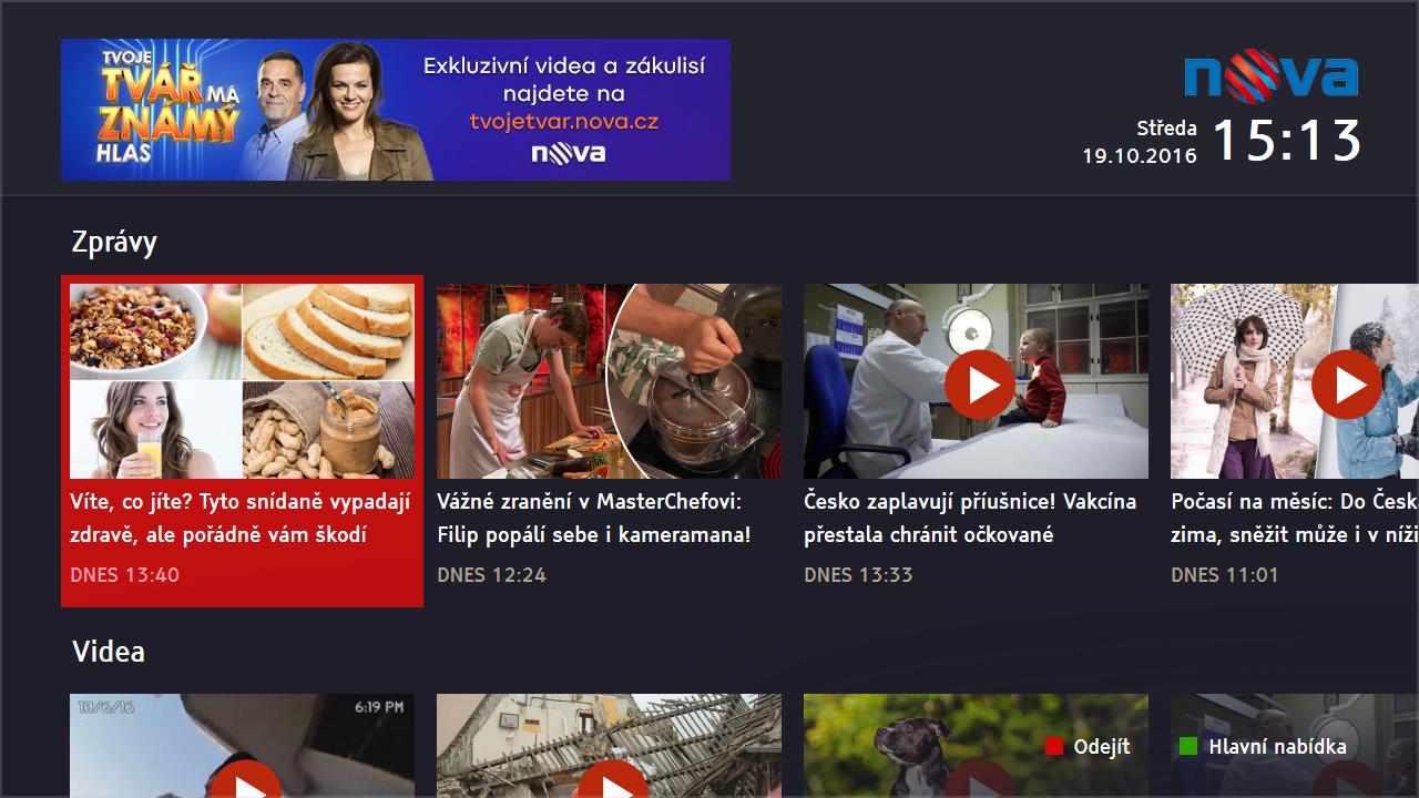 Ukázka z aplikace Novy pro HbbTV