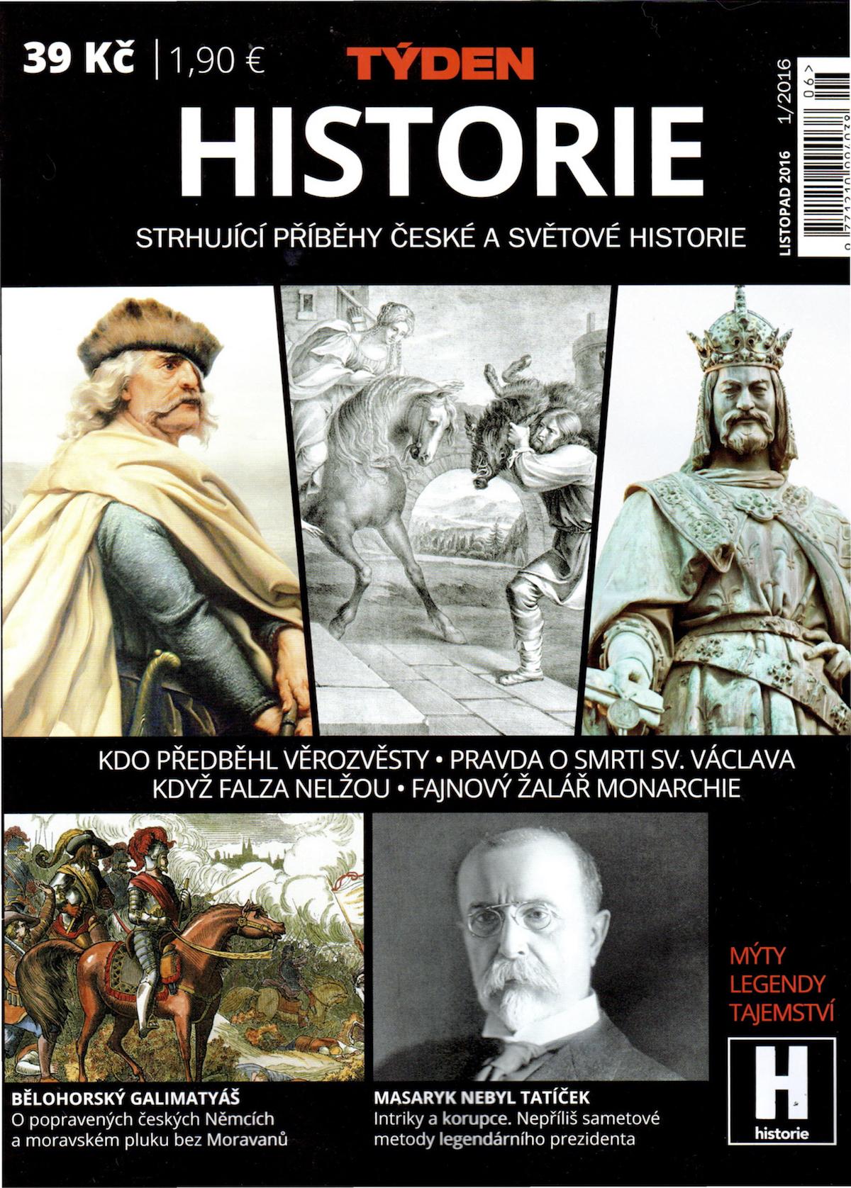 Titulní strana prvního vydání speciálu Týden Historie
