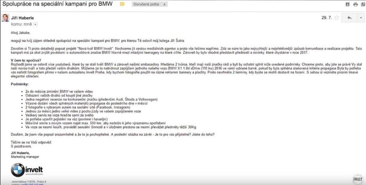 Nabídka spolupráce od BMW Invelt, jak ji zveřejnili youtubeři